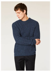Men's Navy Wool-Mohair Donegal Cable-Knit Sweater