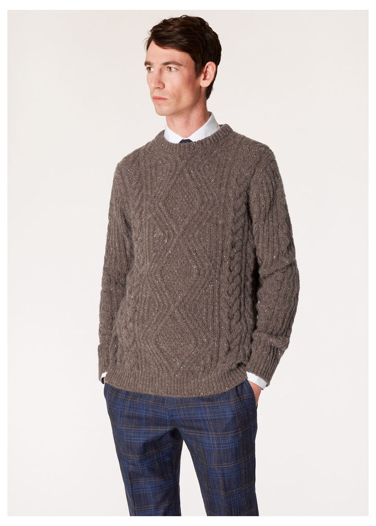 Men's Brown Wool-Mohair Donegal Cable-Knit Sweater