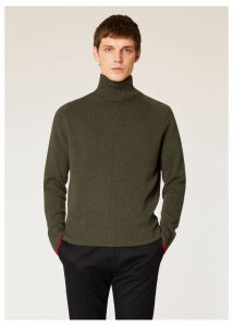 Men's Khaki Cashmere Funnel Neck Sweater