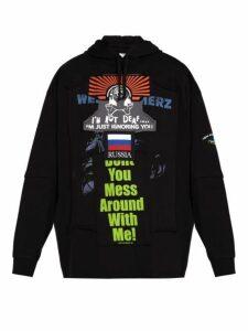 Vetements - Bulldog Patchwork Cotton Hooded Sweatshirt - Mens - Black