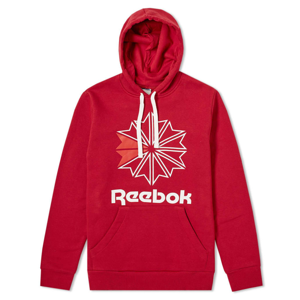 Reebok Retro Starcrest Popover Hoody Cranberry Red & White