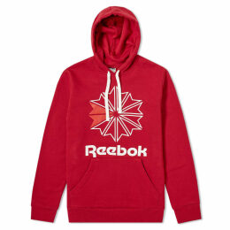 Reebok Retro Starcrest Popover Hoody Cranberry Red & White
