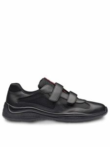 Prada leather and technical fabric sneakers - Black