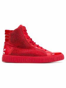 Philipp Plein rhinestone embellished hi-top sneakers - Red