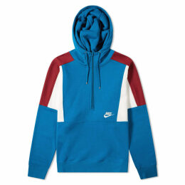 Nike Re-Issue Half Zip Fleece Hoody Blue Abyss, Red & Sail