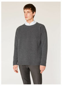 Men's Grey Lambswool Moss-Stitch Crew Neck Sweater