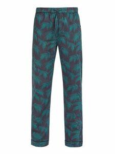 Desmond & Dempsey - Byron Print Cotton Pyjama Trousers - Mens - Navy Print
