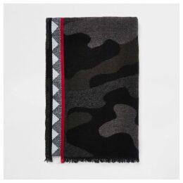 Mens River Island Grey camo print scarf