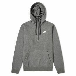 Nike Half Zip Club Hoody Charcoal Heather & White