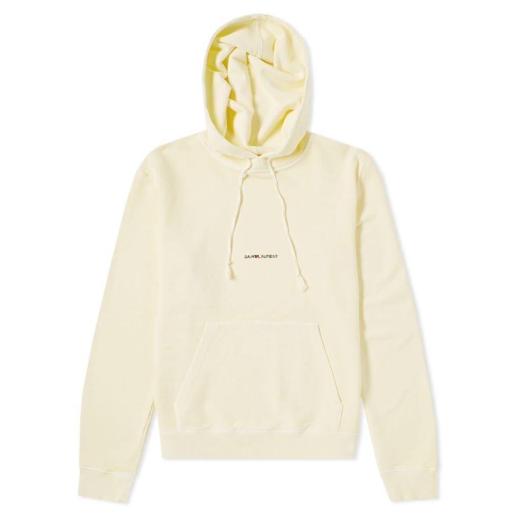 Saint Laurent Loose Fit Archive Logo Hoody Pale Yellow