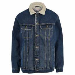 Mens River Island Lee Big and Tall Blue borg denim jacket