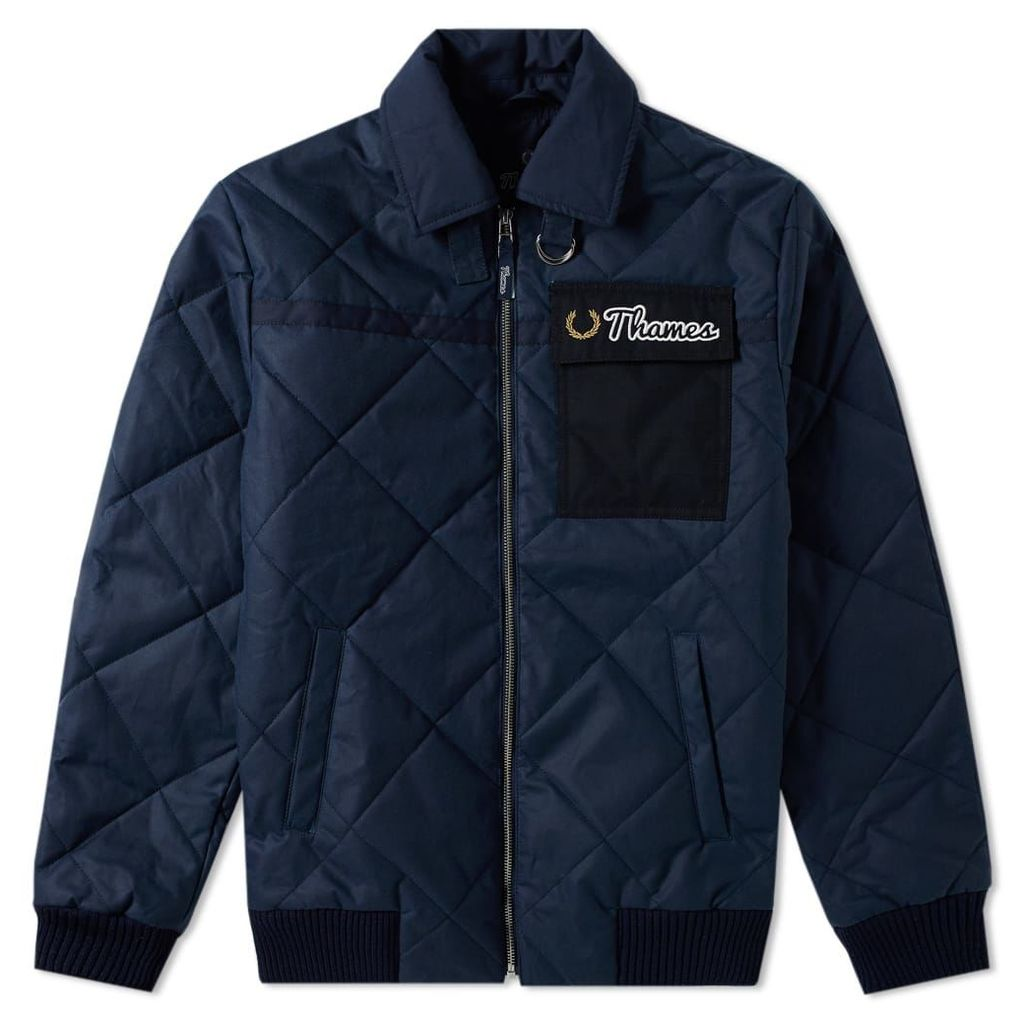 Fred Perry x Thames Quilted Waxed Jacket Inky Blue