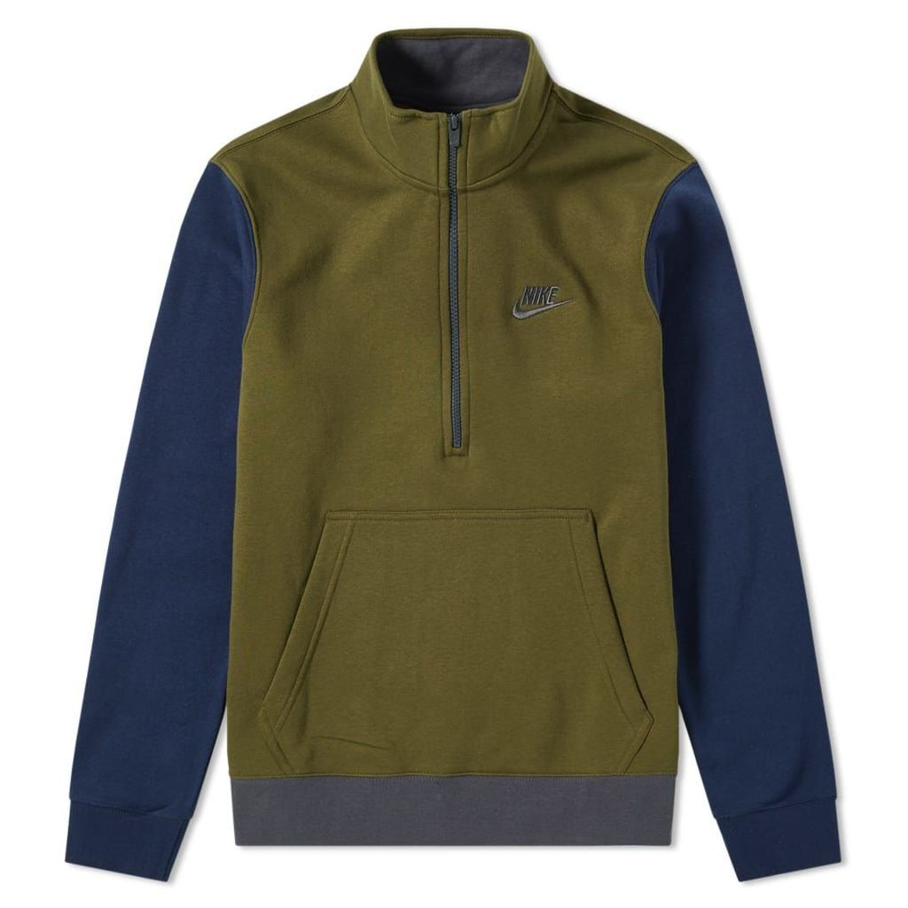 Nike Club Half Zip Sweat Olive, Obsidian & Anthracite