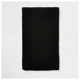 Mens River Island Black ribbed knit scarf