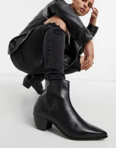 ASOS DESIGN cuban heel western chelsea boots in black leather with lightning detail