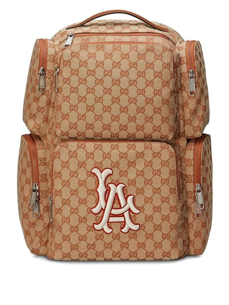 Gucci Large backpack with LA Angels™ patch - Brown