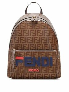 Fendi FendiMania double F logo backpack - Brown