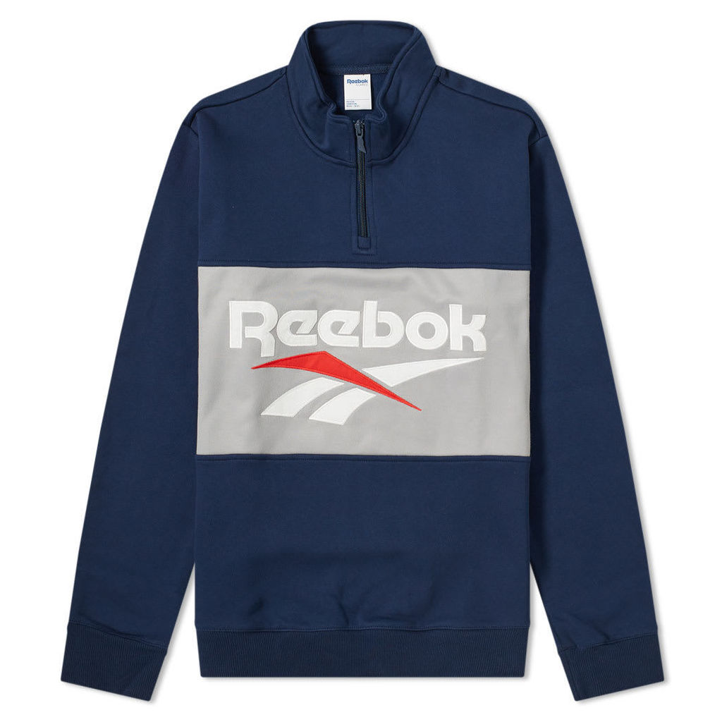 Reebok Retro Vector Quarter Zip Sweat Navy