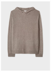 Men's Taupe Ribbed Cashmere Hooded Sweater
