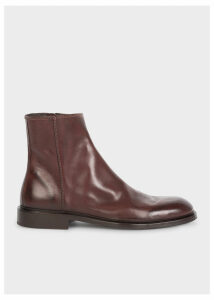 Men's Chocolate Brown Leather 'Billy' Zip Boots