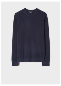 Men's Dark Navy Textured Cotton Sweater