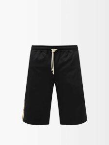 3 Moncler Grenoble - Logo Embroidered Roll Neck Wool Blend Sweater - Mens - Blue Stripe