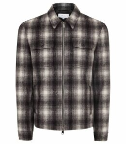 Reiss Gosling - Checked Wool Blend Blouson Jacket in Black/white, Mens, Size XXL