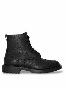 Burberry Brogue Detail Grainy Leather Boots - Black