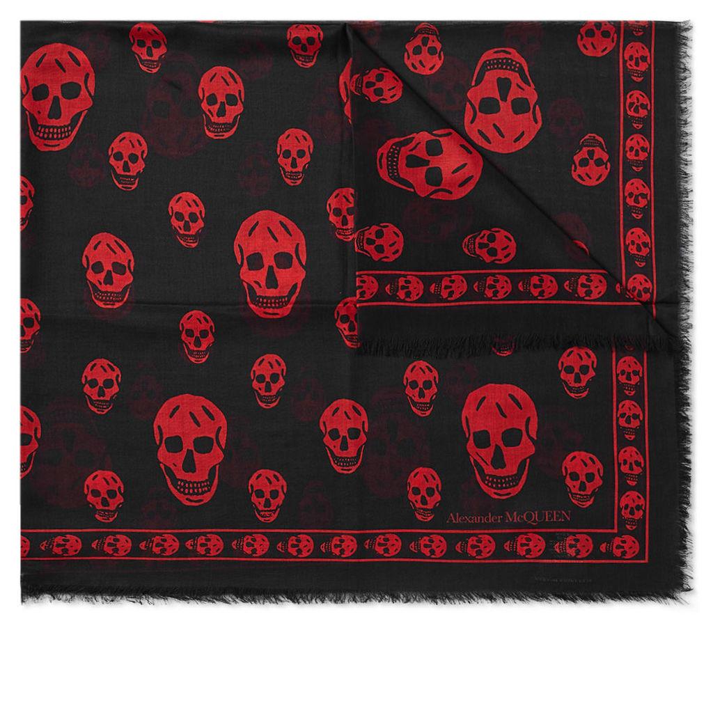 Alexander McQueen Skull Pashmina Scarf Black & Red