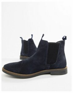 Silver Street Chelsea Boots In Navy Suede