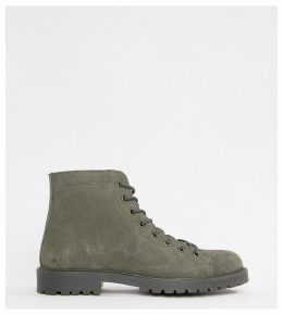 ASOS DESIGN Wide Fit lace up boots in grey suede with grey sole