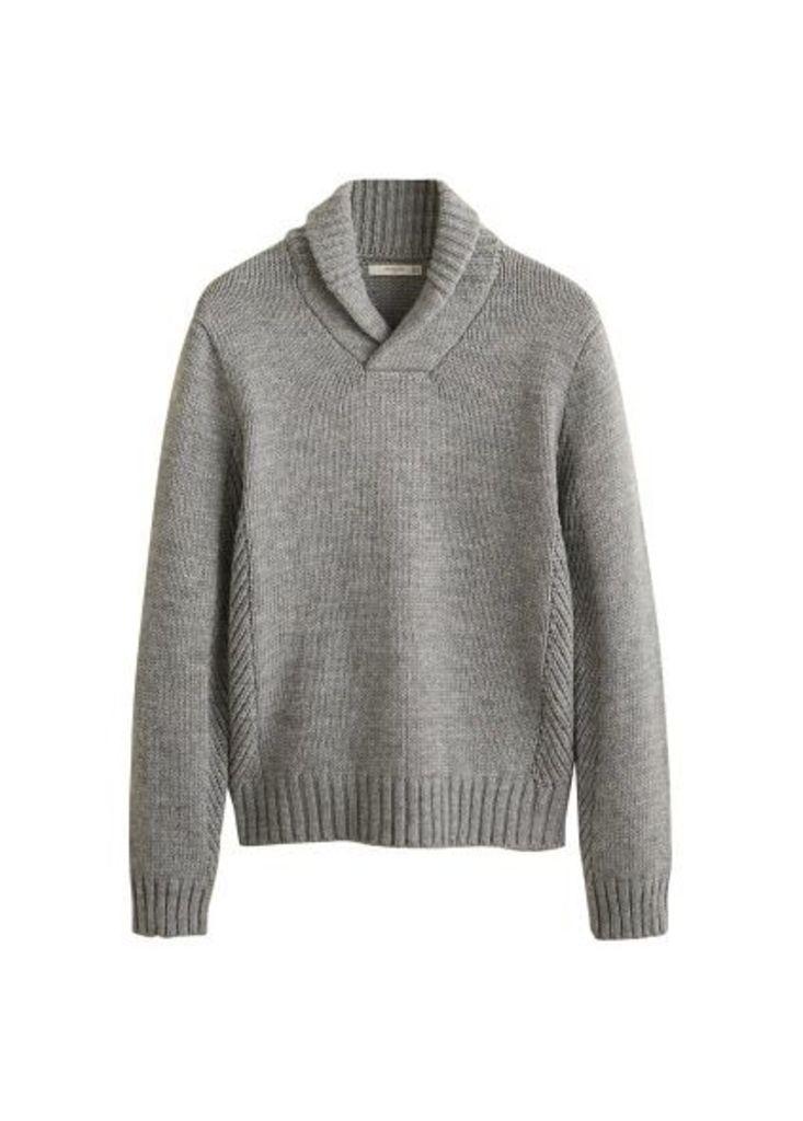 Camp-collar knit sweater