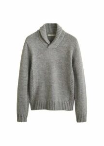 Camp-collar knit sweater