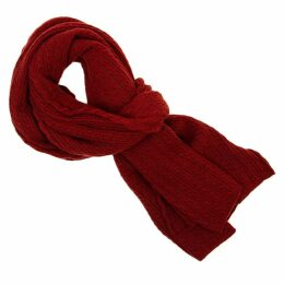 40 Colori - Red Small Braided Wool & Cashmere Scarf