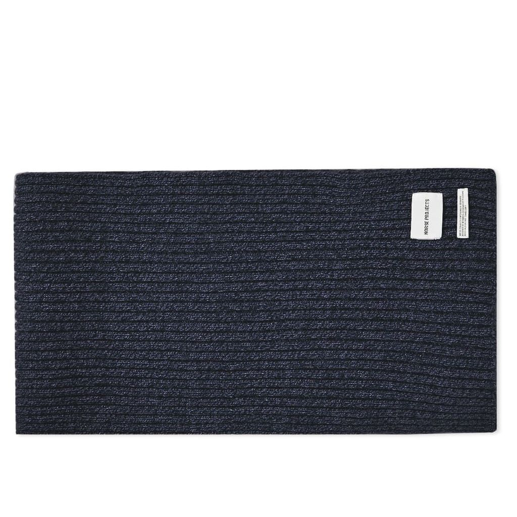 Norse Projects Wide Rib Scarf Dark Navy