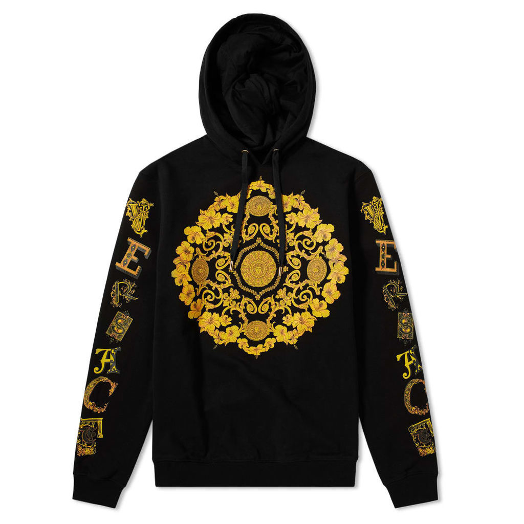 Versace Baroque Printed Hoody Black & Gold