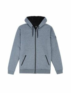 Mens Grey Marl Borg Lined Zip Through Hoodie, CHARCOAL