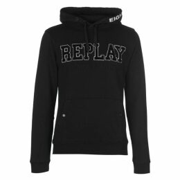 Replay Hoodie With Pouch Pocket and Embroidery