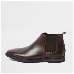 Mens River Island Dark Brown leather Chelsea boots