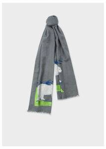 Men's Grey 'Arctic Animals' Embroidered Cotton Scarf