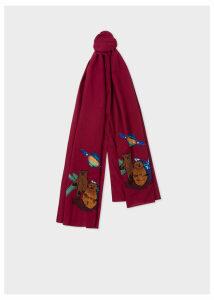 Men's Burgundy 'Explorer' Embroidered Cotton Scarf