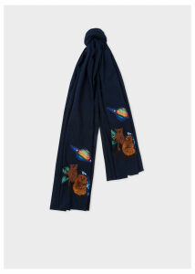 Men's Navy 'Explorer' Embroidered Cotton Scarf