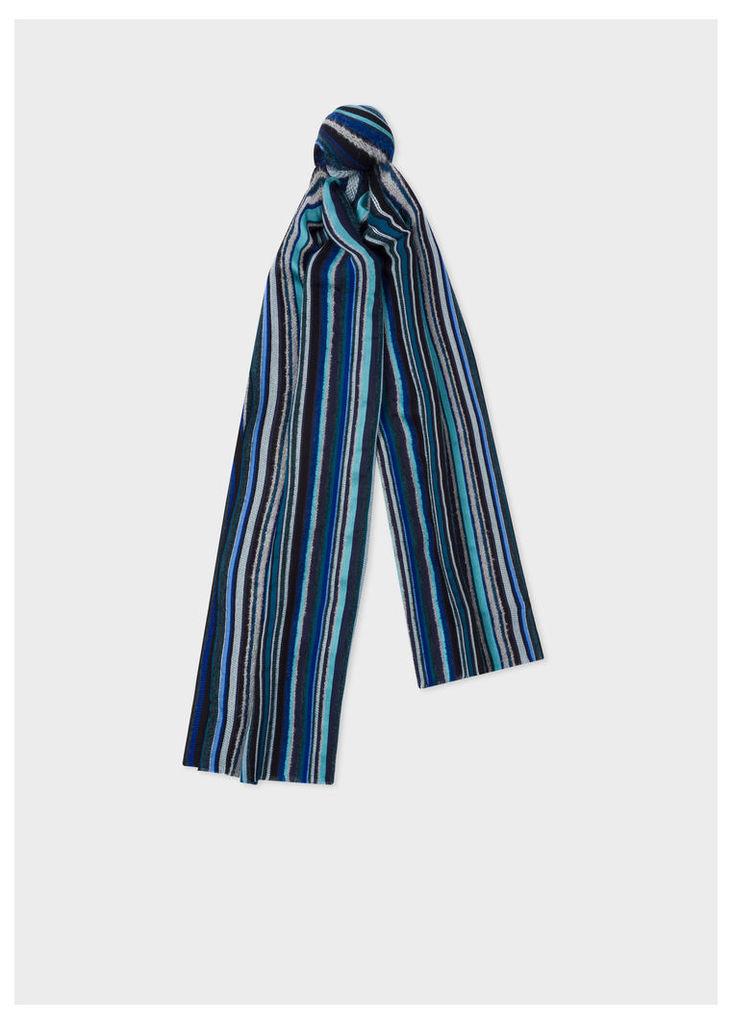 Men's Blue Signature Stripe Textured Scarf