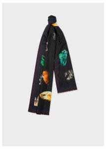 Men's Black 'Precious Stones' Print Silk Scarf