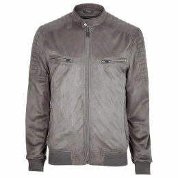 Mens River Island Grey faux suede racer jacket