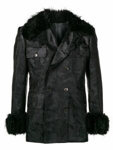 Jean Paul Gaultier Pre-Owned faux fur collar jacket - Black