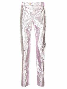 Walter Van Beirendonck Pre-Owned metallic slim trousers - Purple