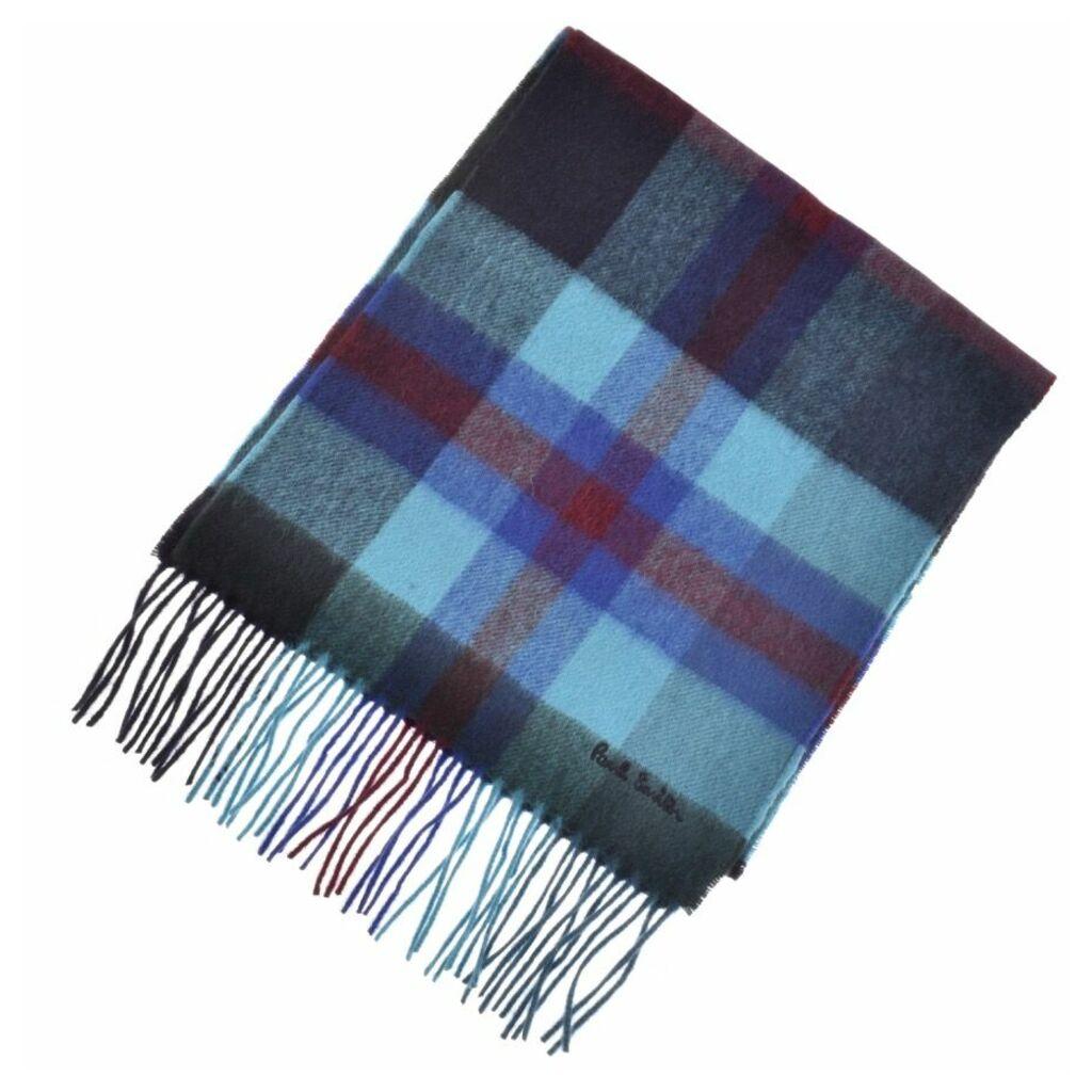 PS By Paul Smith Tartan Knit Scarf Blue