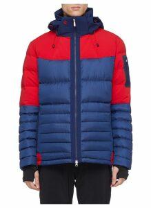 'Amak' detachable hood colourblock down puffer jacket
