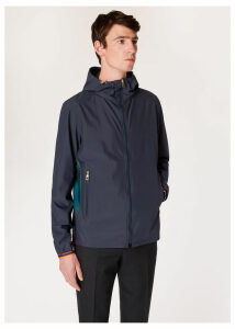 Men's Navy Hooded Jacket With 'Artist Stripe' Mesh Trims